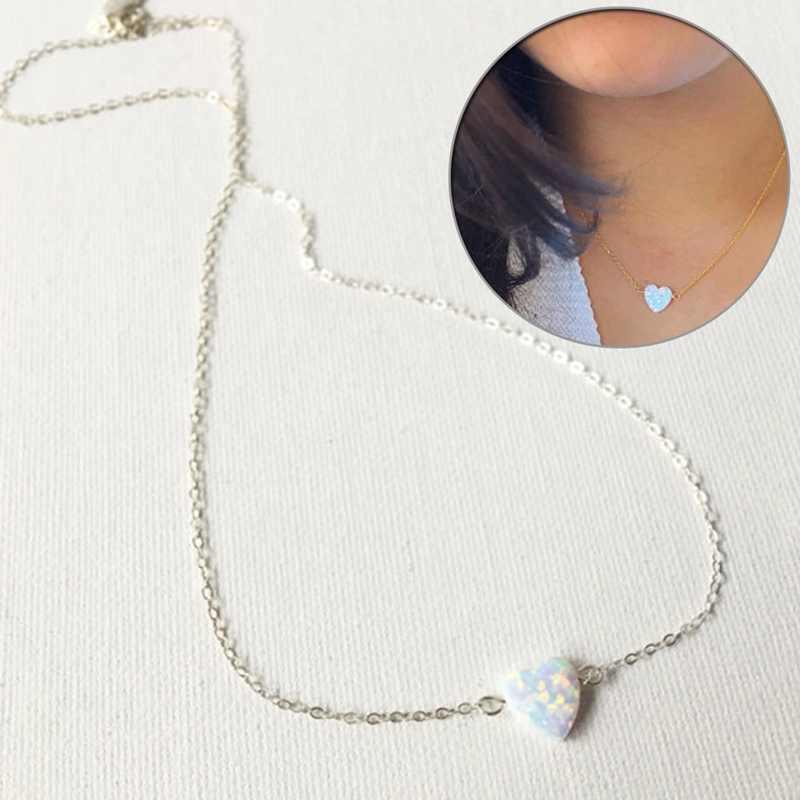 Màu xanh Trắng Opal Vòng Cổ HeartPendant Vòng Cổ Trong Suốt Chuỗi Choker Phụ Nữ Đồ Trang Sức Collier Valentine của Món Quà Ngày