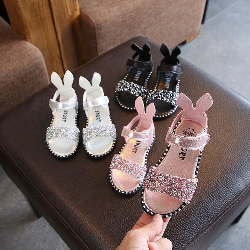 Summer Children's Sandals Girls Sequins Diamonds Roman Rhinestone Shoes Kids Pearl Crystal Single Princess Sandals Rabbit Ears