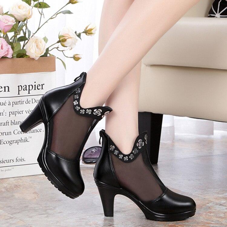 7a48f240d Nova Mulheres Malha Sandálias De Da Preto cinza Sapatos Botas Femininas  Mulher Couro Negócios Moda Alto Salto ...