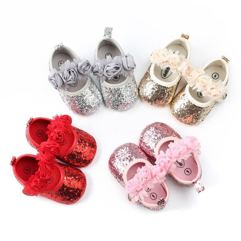 Fashion Sequins Lace Flower Baby Girl Shoes Anti-Slip Princess Walking Shoes Anti-slip Soft Sole Bottom Walking Princess Shoes