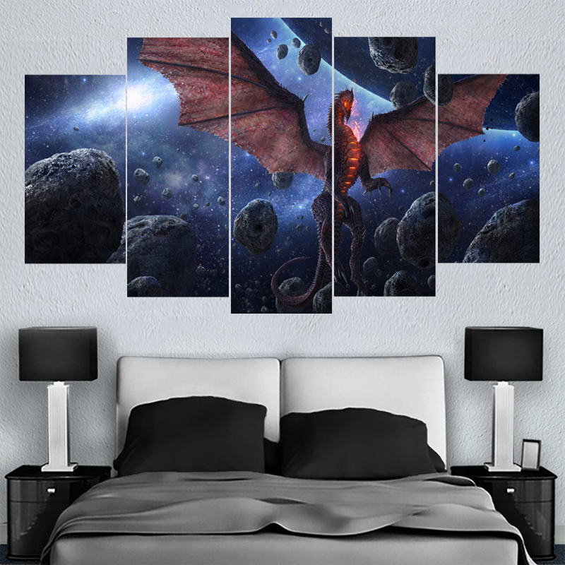 5 Pcs/set Home Decor Wall Art Dragons Animal Canvas Paintings HD Printed Framed Or Unframed Canvas Painting For Bed Living Room
