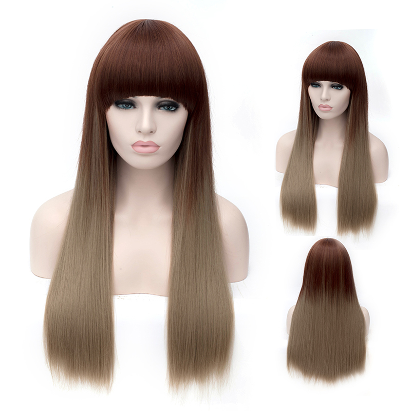 Natural Synthetic Ombre Light Brown Color Wigs Cheap Long Hair For Black Women Harley Quinn Cosplay