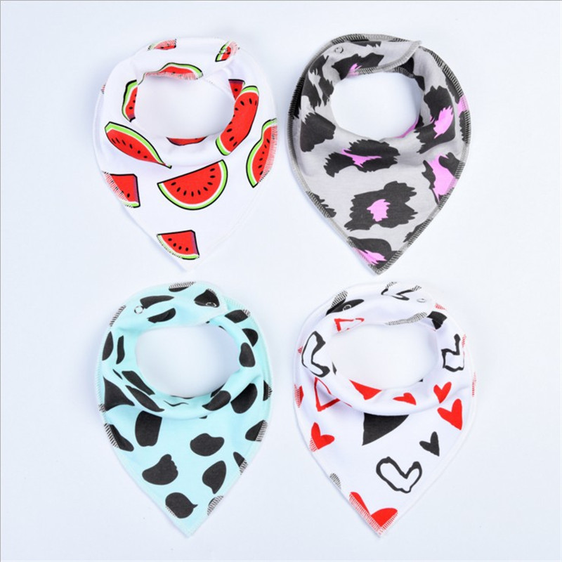 4Pcs/Lot Baby Bibs Different Styles Cotton Soft Kids Toddler Triangle Scarf Bib Cool Accessories Infant Saliva Towel 2