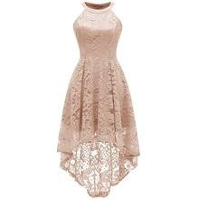 2019 New Fashion Women Girls Floral Lace Dress Halter Hi-low Hem Midi Dress Vintage Gowns Cocktail Formal Wedding Party Dress