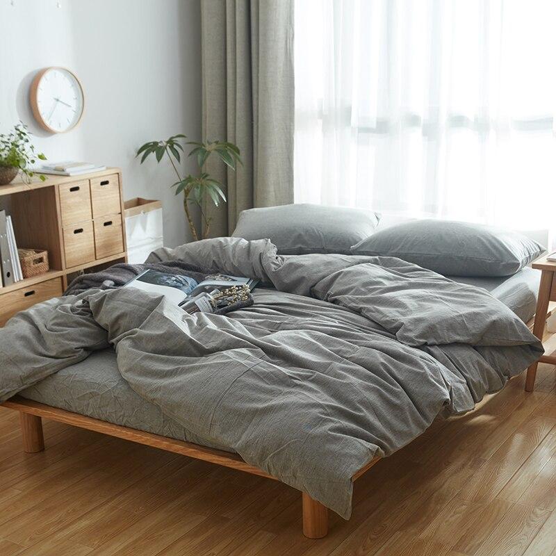 100% Baumwolle Vintage Style Gewaschene Stoff Elegante Herren Schlafzimmer  Set Einfarbig Hellgrau Bettbezug Bettwäsche Sets 1,5 1,8 Mt Bett In 100% ...
