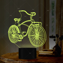 Car Addiction Sport Bike Design LED Night Light 7 Colors Lamp Presents For Cyclists Baby Sleep