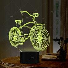 Car Addiction sport bike design LED night light 7 colors lamp presents for cyclists baby sleep