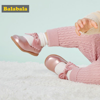 Balabala Child Girls Princess Shoes Childlike Fashion Girls Wing Shaped Bow Design Soft Breathable Healthy Shoes Foot Protection