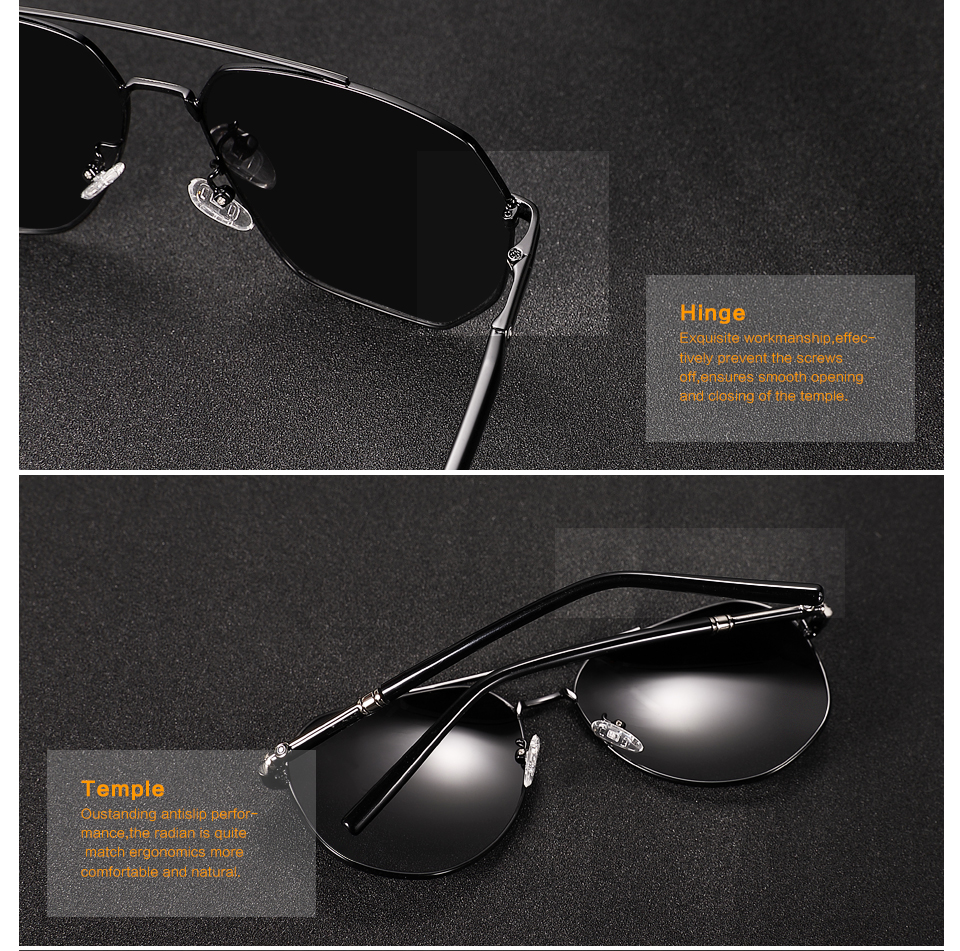 POLARKING Brand Metal Polarized Men Sunglasses Gradient Pilot Sun Glasses For Men Travel Fishing Eyewear Shades Oculos