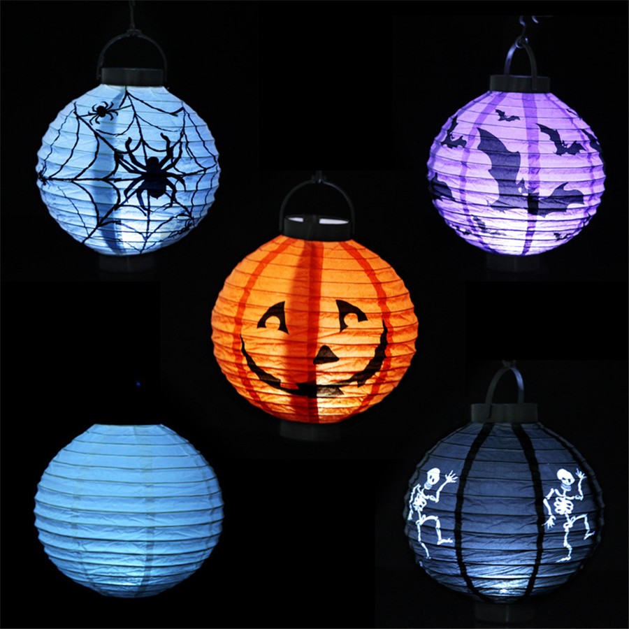 2016 new halloween decoration pumpkin lighted paper lanterns spider bat skull lanterns party cosplay props 2pcs - Light Up Halloween Decorations