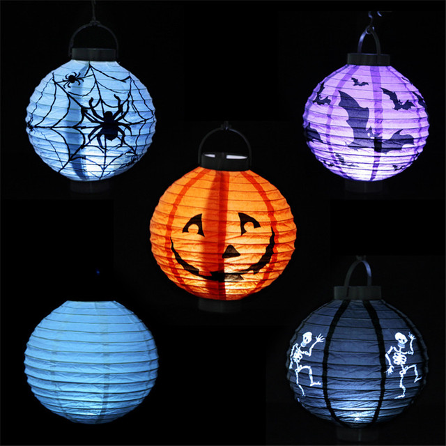 New Decoration Pumpkin Lighted Paper Lanterns Spider Bat Skull Party Cosplay Props 2pcs Free Shipping