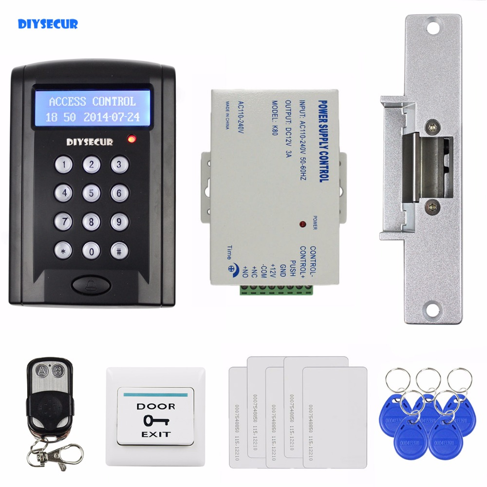 DIYSECUR Remote Control 125KHz RFID ID Card Reader Password Access Control Security System Kit + Strike Lock New diysecur magnetic lock door lock 125khz rfid password keypad access control system security kit for home office