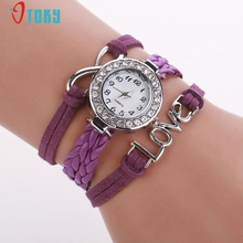 Women Infinity Love Hand-knitted PU Leather Chain Quartz Wristwatch Watch Creative Mar13