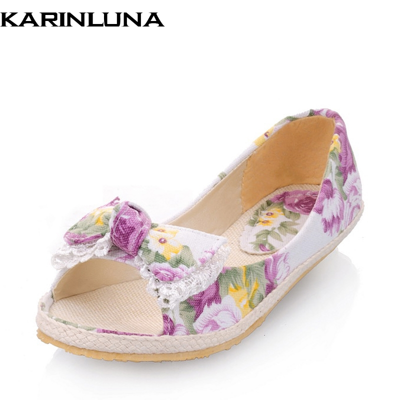 KARINLUNA Summer Sweet Lace Bow Breathable Woman Print Flats Open Toe Shallow Slip-On Casual Women Shoes Size 34-39 plus size 34 41 black khaki lace bow flats shoes for womens ds219 fashion round toe bowtie sweet spring summer fall flats shoes