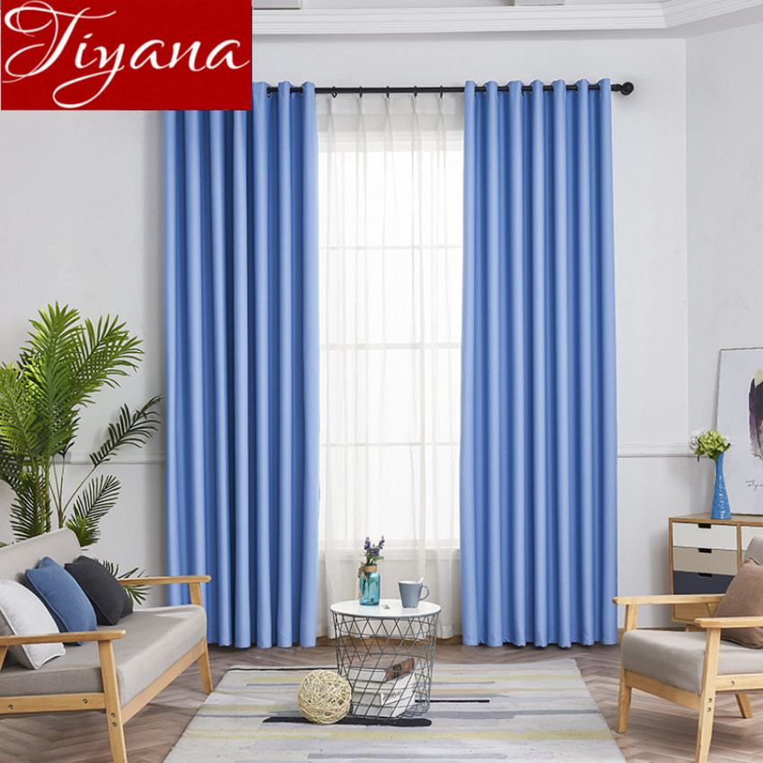 Modern Blackout Curtain For Living Room Solid Grey Window Curtain For Bedroom Treatment KitchenTulle Sheer Fabric Drapes X432#30