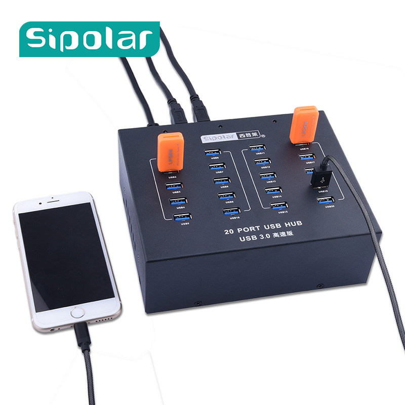 Промышленные 20 Порты и разъёмы концентратор USB 3,0 High Мощность Зарядное устройство/концентратор построить в 5 В 20A источника питания