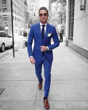 High Quality Blue Mens Suits Groom Tuxedos Groomsmen Wedding Party Dinner Best Man Suits (Jacket+Pants+Tie) K:2316