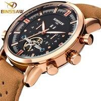 BINSSAW Новые Мужские автоматические механические часы Tourbillon большие маленькие кожаные военные спортивные часы люксовый бренд Relogio Masculino