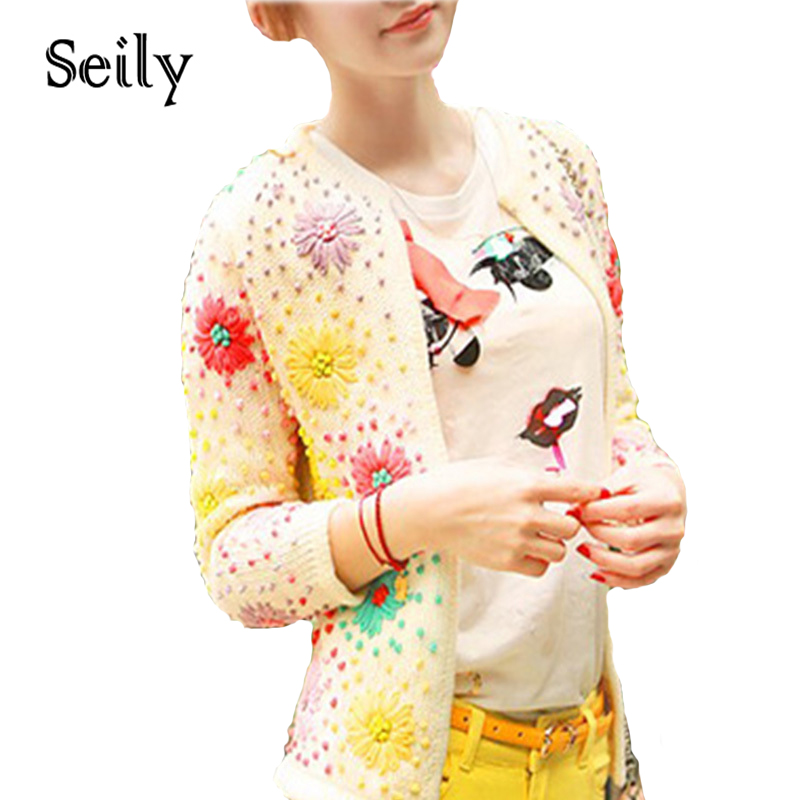 Korean Energetic Colorful Handmade Solid Daisy Floral  Cardigan Embroidered Women Sweater Covered Button Knitwear Coat Free Size
