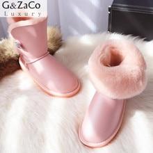 G & Zaco Lui De Luxe D'hiver en peau de Mouton Neige Bottes Laine Naturelle Fourrure De Mouton Bottes Mi-mollet Cristal Bouton Plat Femmes Laine bottes