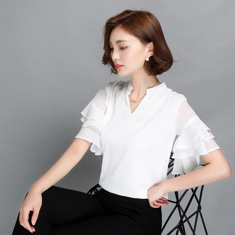 Buy WISLY Summer Women Ruffles Chiffon Blouse Shirt White