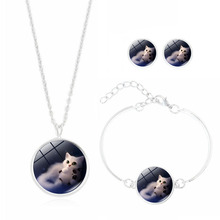 Luxury Brand Necklace Earring and Bracelet Set with Silver Plated Glass Cabochon Cat Pattern Jewelry Set for Women