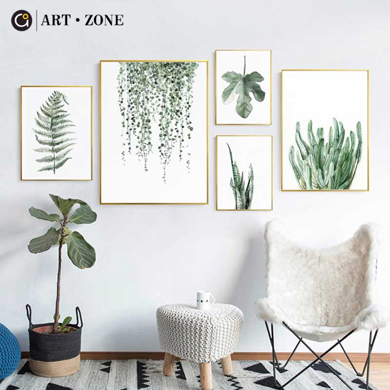 ART ZONE Tropical Plant Leaves Canvas Art Print Poster Nordic Green Plant Wall Pictures Kids Room Large Painting No Frame