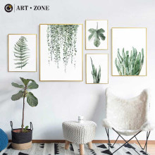 ART ZONE Tropical Plant Leaves Canvas Art Print Poster Nordic Green Plant Wall Pictures Kids Room Large Painting No Frame(China)
