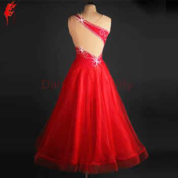 Women performance ballroom dance clothes girls ballroom dance dress stones sleeveless ballroom dance dress dancer\'s clothing