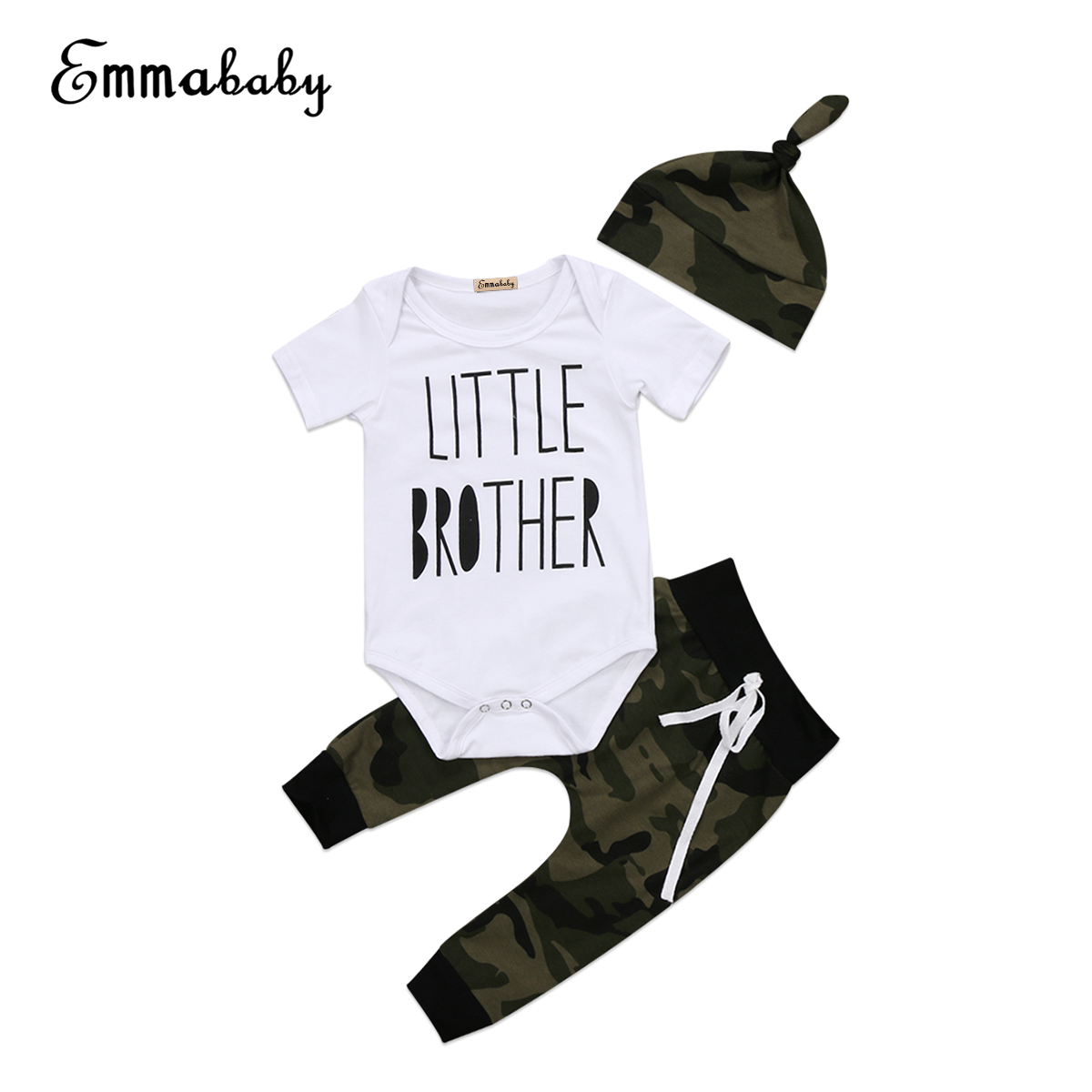 2018 New Baby Boys Clothes Set 3PCS/Set Cotton Camoflage Clothing Short Sleeve Romper Tops+Camo Pants Leggings Hat 3pcs Outfits