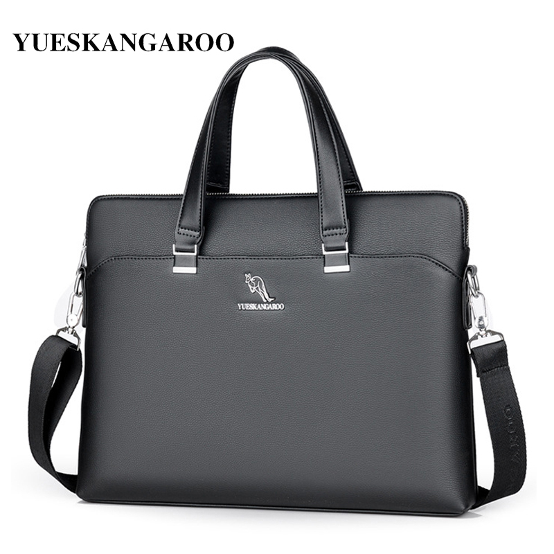 YUES KANGAROO New Brand Leather Men Bags High Quality Laptop Business Briefcase Handbag Male Crossbody Shoulder Messenger Bag feidika bolo brand bag men messenger bags new shoulder leather handbag high quality men s crossbody bags for men shoulder bags