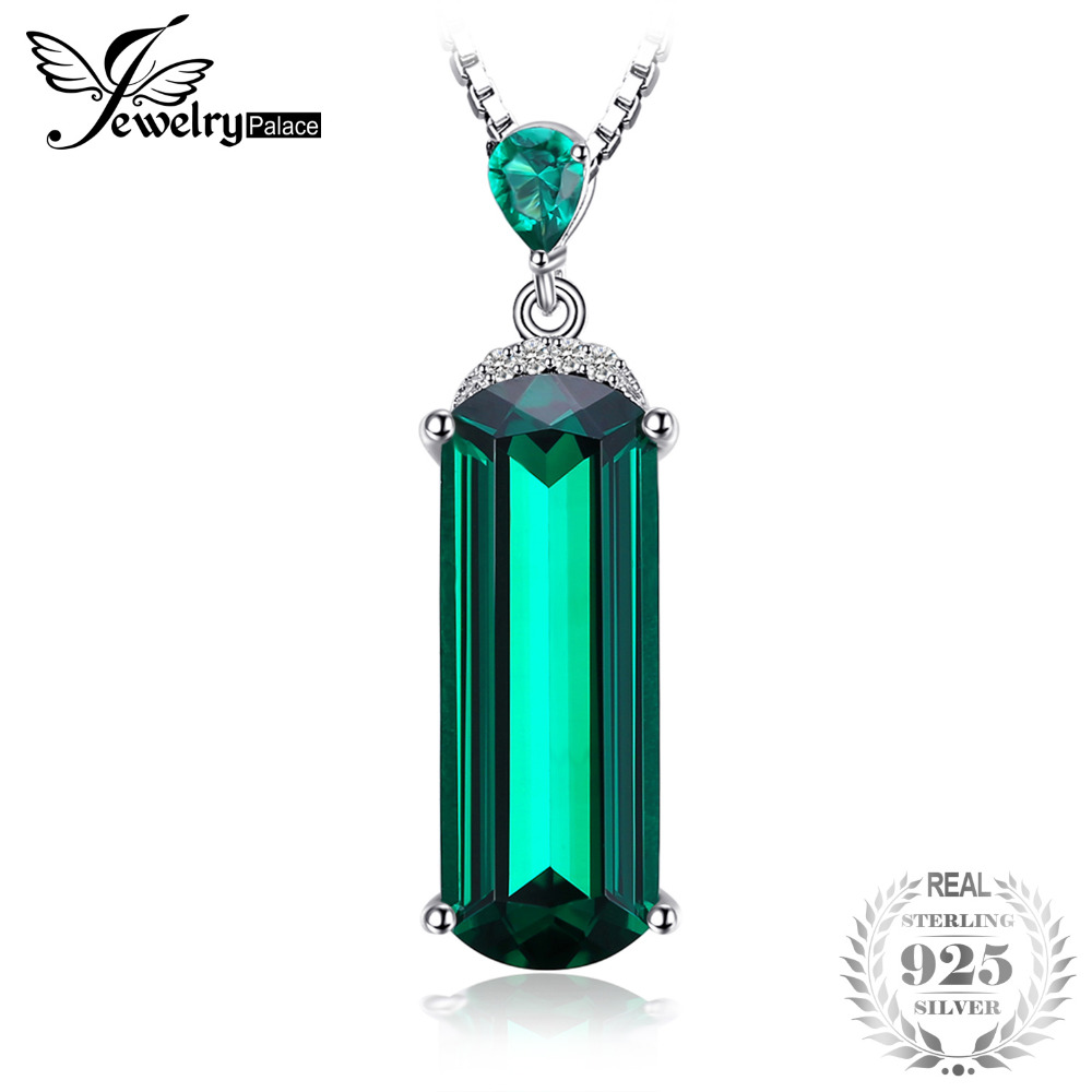 JewelryPalace Fancy Cut 4.4ct Created Green Emerald Solid 925 Sterling Silver Pendant For Women Gemstone JewelryJewelryPalace Fancy Cut 4.4ct Created Green Emerald Solid 925 Sterling Silver Pendant For Women Gemstone Jewelry