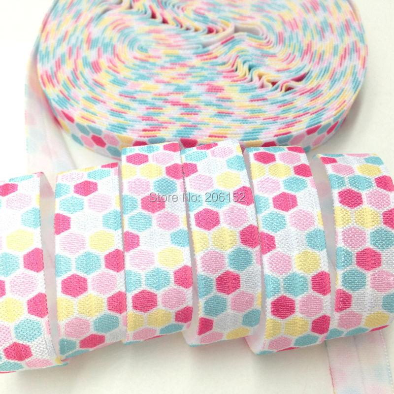 10yardslot 58 Polka Dot Print White Fold Over Elastic Dot Print FOE Ribbon Webbing for DIY Headwear Hair Accessories