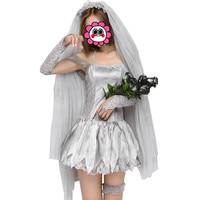 Abbille Chaude Femmes Halloween Mascarade Zombie Cosplay Costumes Robe Sexy Vampire Fantôme Mariée Carnaval Costume avec Tête Voile