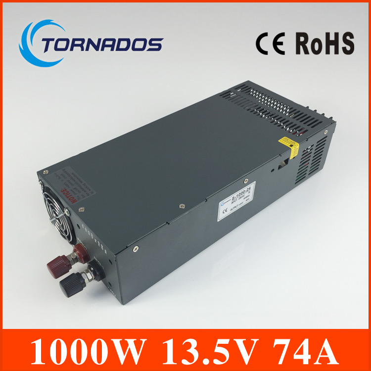 S-1000-13.5 1000W 13.5V 74A 110V or 220v input Single Output Switching power supply for LED Strip light AC to DC SMPS single output dc24v 40a 1000w switching power supply ac dc 24v converter voltage transformer smps for led strip light s 1000 24
