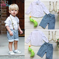 Free Shipping retail young children casual summer boys clothes strap + shirt + jeans three sets of clothing boys suits 3pcs