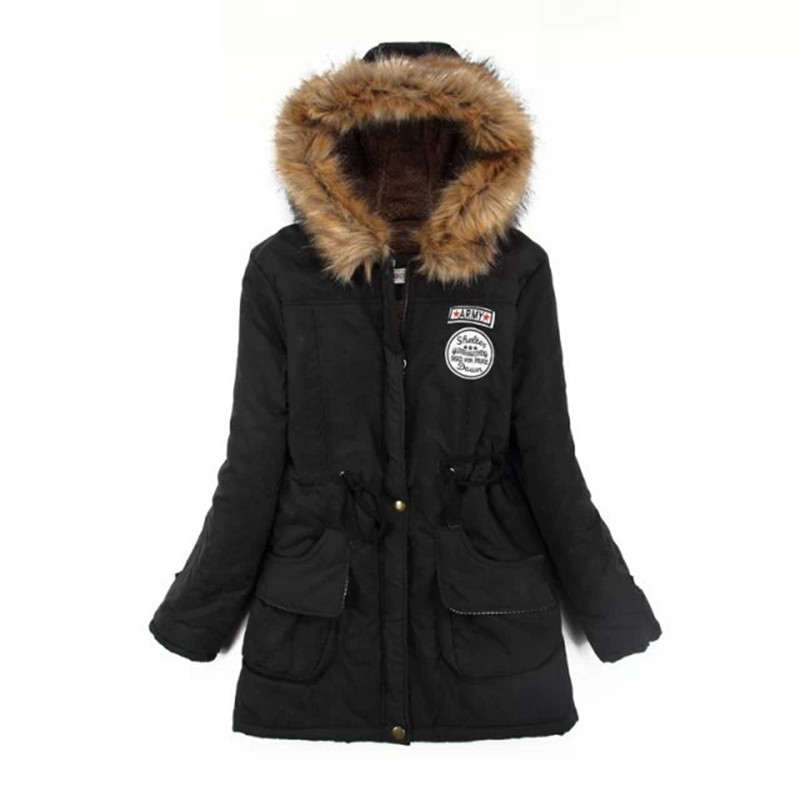 SHIBEVER Green Winter coat jacket women thick warm female outwear hooded   parka   fashion plush fur cotton women coat 2018 TMJ142