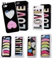 FreeShip Luxury Bling Glitter Flowing Sparking Swarovs Ki Diamond Love Heart Crystal Cover Case For Iphone