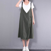 2018 Celmia Women V Neck Spaghetti Straps Buttons Split Hem Retro Cotton Linen Midi Dress Baggy