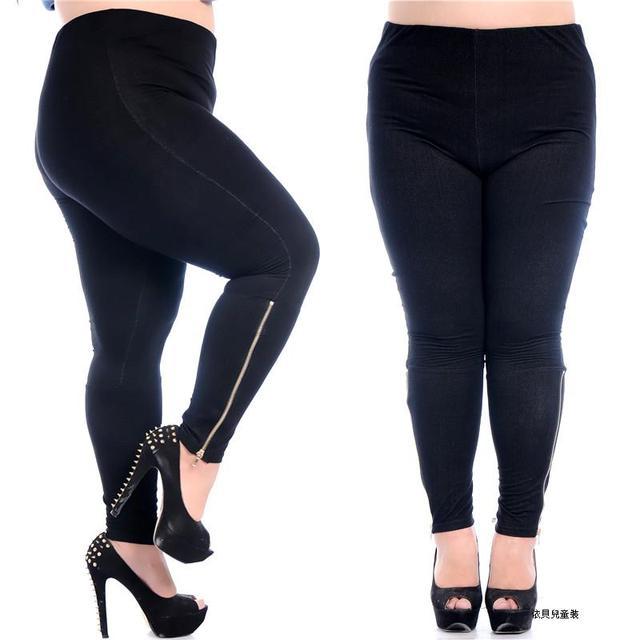 4ee2a00f73eb7 Zipper Cuff Women Pants Big Size Skinny Ladies Fat trousers Slim Black  fashion seamless Elastic High waist