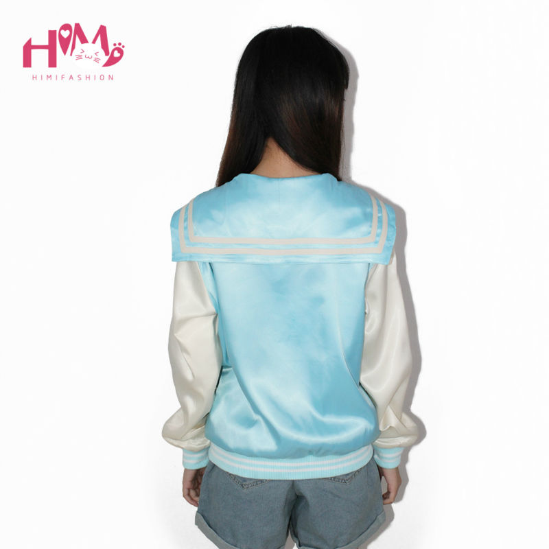 New Fashion Ladies Sky Blue All-match Cat Embroidery Thin Coat Female Loose Pink Autumn Spring Jacket Women Sailor Collar  2
