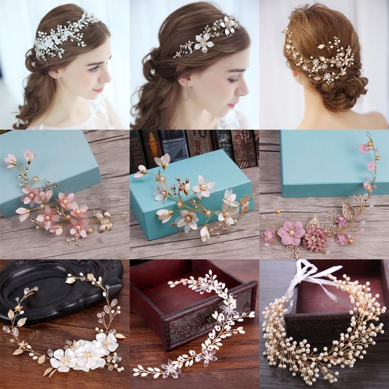 Pearl Headband Jewelry Hair-Accessories Rhinestone Bridal-Head Crystal Handmade Wedding