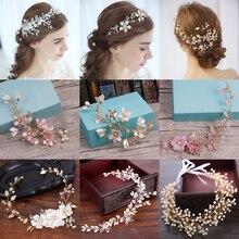 Diamantes de imitación de cristal diademas boda accesorios para el cabello de novia diadema de pelo banda de novia hechos a mano cabeza de la