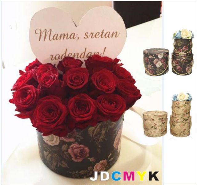 3 pcs ensemble Rétro rond fleuriste emballage cadeau fleur bo te de