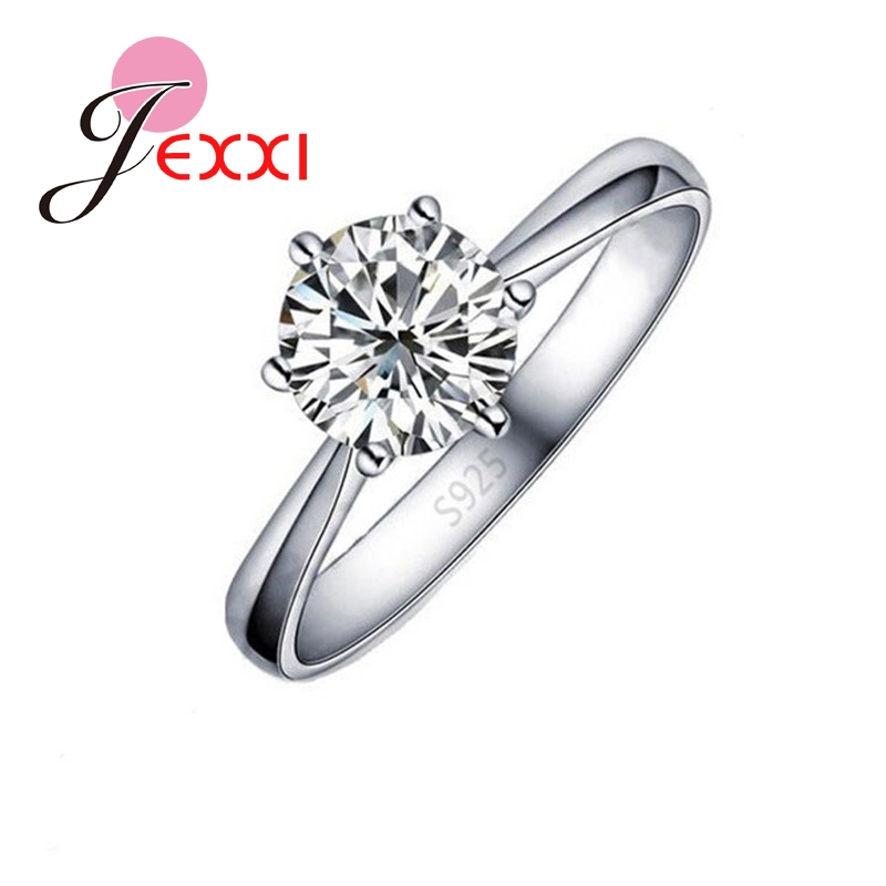Wholesale Price Classic Real <font><b>Pure</b></font> <font><b>925</b></font> Sterling <font><b>Silver</b></font> 6 Claws <font><b>Women</b></font> Wedding Finger <font><b>Rings</b></font> Jewelry with Cubic Zirconia CZ image