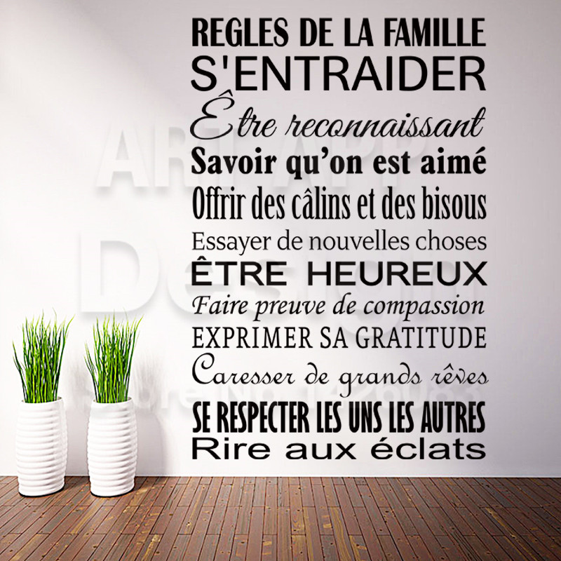 Wall Stickers French Words Art New Design Cheap Home Decor French