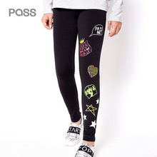 PASS 2017 Autumn New Fashion Printing Leggings Stretch Black/Blue Trousers Streetwear Casual Pants