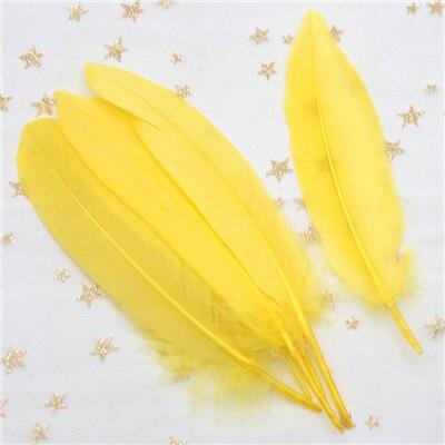 Натуральные лебединые перья 14-20 см, многоцветные гусиные перья, шлейф для рукоделия, свадебных украшений, рукоделия, украшения для дома, 50 шт - Цвет: yellow 50pcs