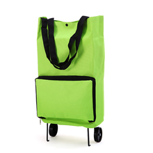 Portable Trolley Travel Bags with Wheels Hand Luggage Women Large Capacity Bag Folding Supermarket Shopping Cart Trolley Package supermarket cart simulation shopping trolley with fruits and vegetables toys for kids