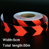 50mx5cm Red&Black Arrow Reflective Strips Glue Stickers For Car Styling Motorcycle Automobiles Decoration Safety Warning Tape